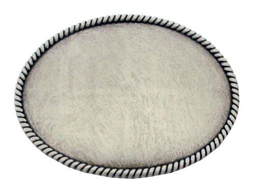 Silver Rope Edge Plain Belt Buckle Antique Nickel - Buckle Finish Belt Antique