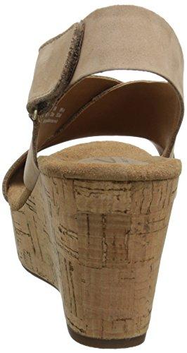 Clarks Caslynn Shae Damen Beige Leder Keil Sandalen Schuhe Größe Neu EU 38