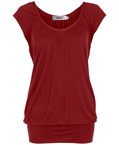Bepei® Women Hip Length V Neck Top Solid Short Sleeve T Shirt Tunic Blouse Red Wine L