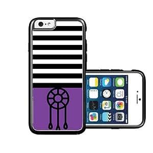 RCGrafix Brand Dream-Catcher Black Stripes & Purple black iPhone 6 Case - Fits NEW Apple iPhone 6