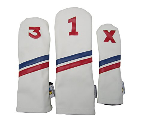 (Sunfish Leather Golf Headcover Set 1-3-X Driver Fairway Hybrid White with Blue and Red Stripes)