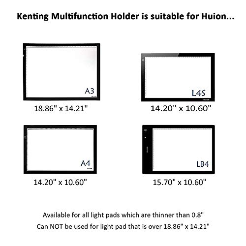 Kenting Light Box Pad Stander Multifunction Rotate in 360° Adjusting 9 Angle Points Skidding Prevented Tracing Holder for Huion or Litup LED Light Table A4 LB4 L4S - Black
