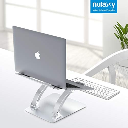 "Nulaxy Laptop Stand, Ergonomic Height Angle Adjustable Computer Laptop Holder Compatible with MacBook, Air, Pro, Dell XPS, Samsung, Alienware All Laptops 11-17"", Supports Up to 44 Lbs-Silver"