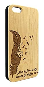 Genuine Maple Wood Organic Feather Birds Inspirational Quote Snap-On Cover Hard Case for iPhone 5/5S by lolosakes