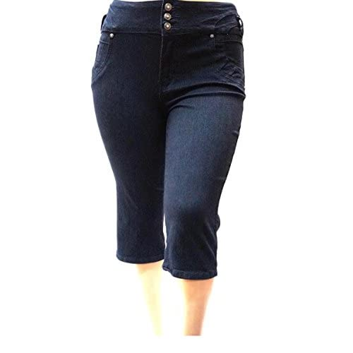 LA CHULA WOMEN&39S PLUS SIZE Stretch premium BLACK denim jeans CAPRI