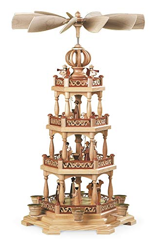 M ller German christmas pyramid Christmas story, 3-tier, height 58 cm 23 inch, natural, original Erzgebirge by Mueller Seiffen