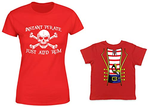 HAASE UNLIMITED Instant Pirate, Just Add Rum/Pirate Costume 2-Pack Toddler & Ladies T-Shirt (Red/Red, Small/18 Months) ()