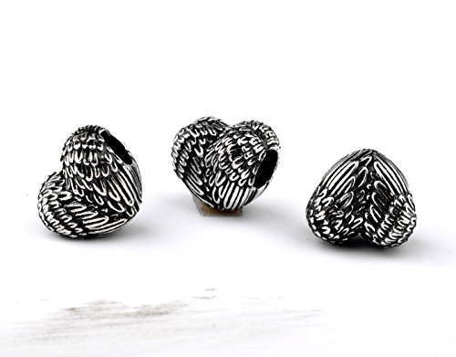 Angle Heart Shaped Feather Wings Charms 925 Sterling