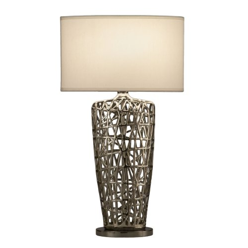 NOVA of California 11076 Bird s Nest Heart Contemporary Table Lamp, One Size, Silver