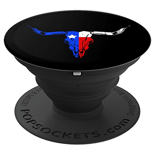 Texas Flag Longhorns Skull - PopSockets Grip and Stand for Phones and Tablets ()