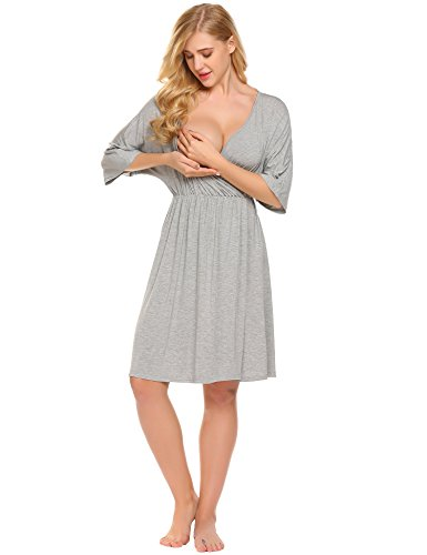 Image of the Ekouaer Hospital Nightgown Womens Short Sleeve Maternity Nursing Sleepwear,Flower Grey,Small