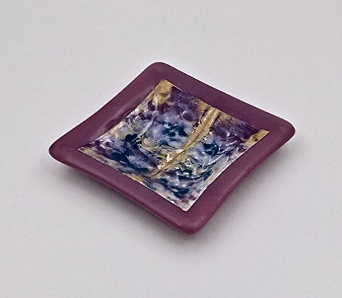 Hand Painted Square Bowl (Purple Fused Glass Decorative Bowl with Hand-Painted Watercolor Design)