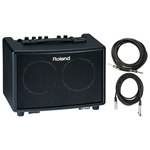 30w Amp Acoustic 30 Guitar - Roland AC 33 BK Battery Powered Acoustic Chorus Amp w/ Instrument Cable and XLR Cable