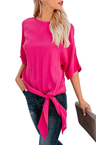 Sibylla Womens Casual Half Sleeve Basic Knot Tie Front Loose Fit Tee Top Blouse Black T-Shirt