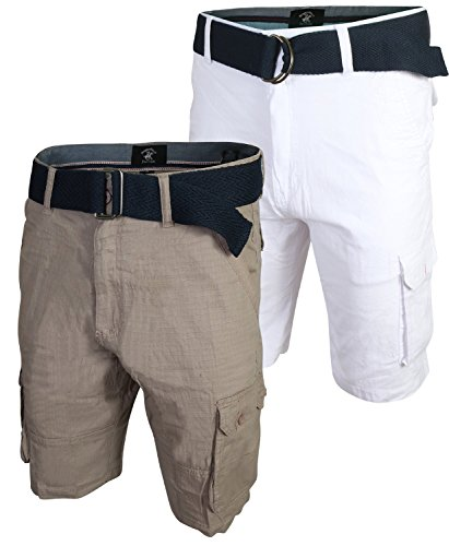 - Beverly Hills Polo Club Men\'s Belted Stretch Cargo Short (2 Pack) (Khaki/White, 34)'