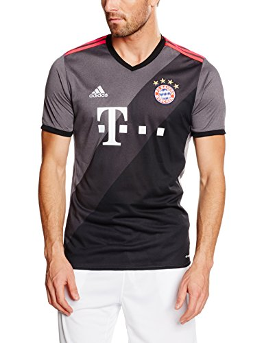 adidas FC Bayern Munich 2016/17 Short Sleeve Away Jersey - Adult - Granite/Solid Grey/Black - X-Large