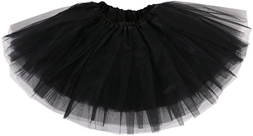 Girl's Tutu Skirt 4 Layered Tulle Classic Princess Dress-up,Black,2-8 Years ()