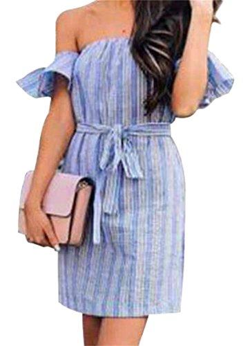 Fit Womens Striped Mini Slim Blue Party Waist Dress Domple Shoulder Pencil Tie Off B4BWU