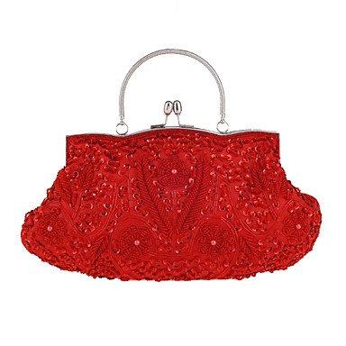 Las mujeres de algodón Bolsa de noche All Seasons Casual Formal Evento/fiesta boda Minaudiere Sequin Broche de plata Ruby de bloqueo del embrague de bolso más colores, rojo Silver