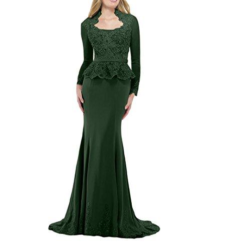 Abendkleider Meerjungfrau Etuikleider Langarm Brau Gruen Promkleider Brautmutterkleider Festlichkleider mia Dunkel Bodenlang Figurbetont La qgSXc