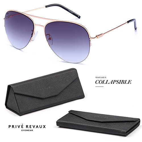 "PRIVE REVAUX ""The Ace"" Handcrafted Designer Aviator Sunglasses (Gold)"
