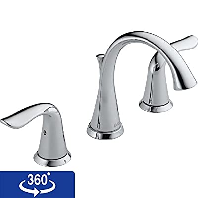 Delta Lahara 3538 Double Handle Widespread Bathroom Sink Faucet with All Metal Pop-up Drain and Diamond Valve