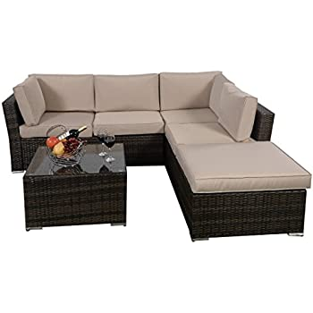 Delightful Giantex 4pc Patio Sectional Furniture Pe Wicker Rattan Sofa Set Deck Couch  Outdoor