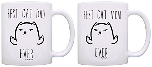 Best Cat Mom Ever Best Cat Dad Ever Bundle Novelty 2 Pack Gift Coffee Mugs Tea Cups White