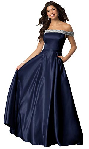 Lianai Women's Strapless Beaded Satin Evening Party Dress Off The Shoulder Formal Gown Navy Blue,2