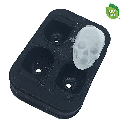 WRITE YOUR REVIEW  Silicone Skull Ice Cube Molds Tray Ice Ball Maker - Flexible Food Grade Silicone, Large Skull Ice Balls Maker, Whiskey Cocktail Ice Cubes Maker - Black (Skull Ice Cubes