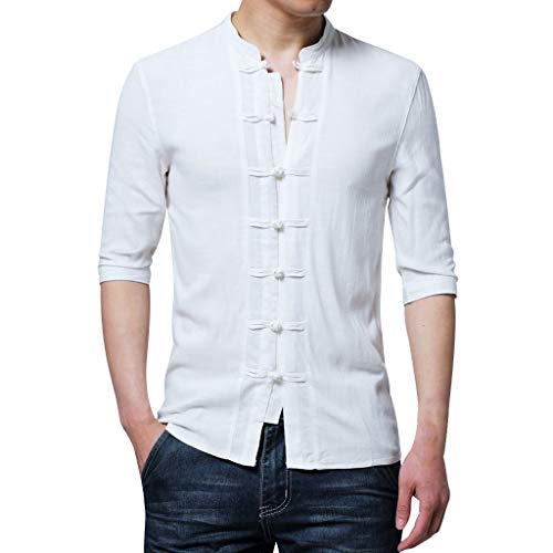 - LUCAMORE Mens Half Sleeve Shirt Chinese Traditional Tai Chi Suit Cotton Linen Top Slim Fit Blouse White