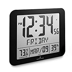 Marathon CL030067BK Slim Atomic Full Calendar Clock with Large 3.25 Digits, Indoor Temperature and Humidity. Batteries Included. Color- Black