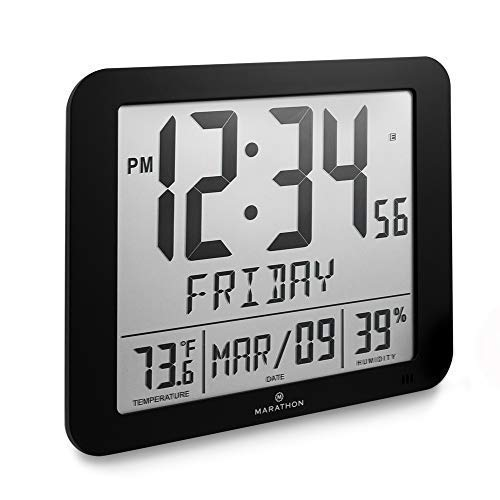 Marathon CL030067BK Slim Atomic Full Calendar Clock with Large 3.25
