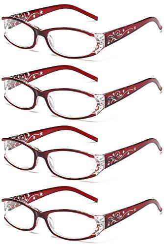 VEVESMUNDO Reading Glasses Women Vintage Flowered Presbyopic Optical Eyeglasses (4 Red Reading Glassses - Style 2, 2.0)