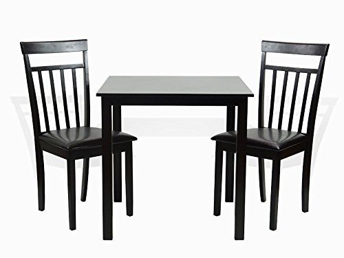 Cheap Dining Kitchen Set of 3 Square Table and 2 Classic Wood Chairs Warm in Espresso Black