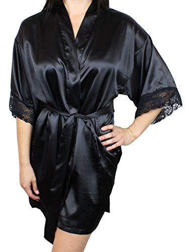 Women's Satin Kimono Bridesmaid Short Robe Lace Trim Sleeves - Black M/L ()