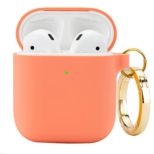 DamonLight Premium Silicone Airpods Case with Carabiner [Front LED Visible][with no Hinge] Full Protective Cover Skin Compatible with Apple Airpods 1&2(Pink)