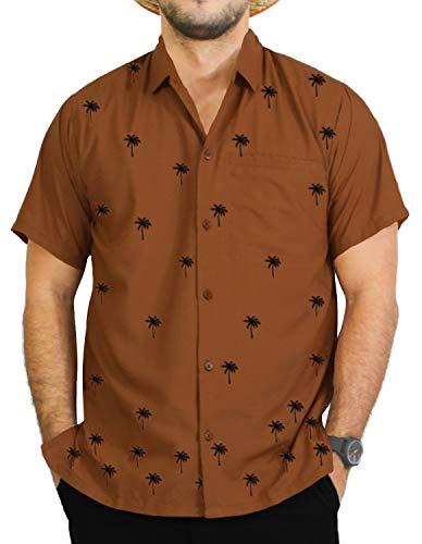 LA LEELA Rayon Point Collar Smooth Casual Shirt Brown 5XL   Chest 66