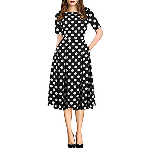 Dressin Womens Vintage Evening Dress Patchwork Pockets Puffy Swing Flower Print Pettiskirt Casual Party Dress Black