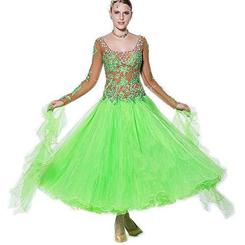 garuda◇サイズオーダー社交ダンスセミオーダー レディース競技試合ダンスドレス 高級品 ワルツドレス 蛍光緑スカート 画面色 サイズオーダー