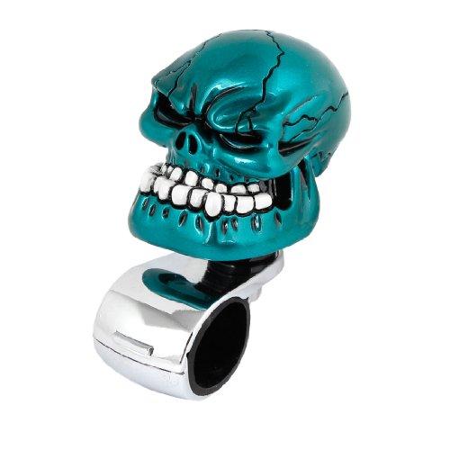 uxcell Car Blue Skull Head Style Steering Wheel Knob Silver Tone Handle