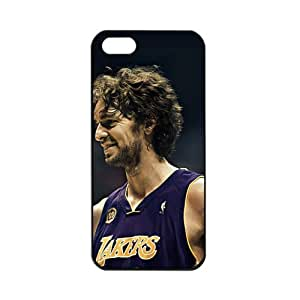 NBA Los Angeles Lakers Pau Gasol Apple iPhone 5 TPU Soft Black or White cases for basketball Lakers fans (Black)