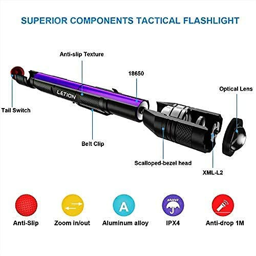 LETION LED Torch Rechargeable,Torches LED Super Bright Powerful 1500 Lumens, Waterproof, 5 Modes Zoomable Tactical Flashlight 2x18650 2600mAh Rechargeable Batteries