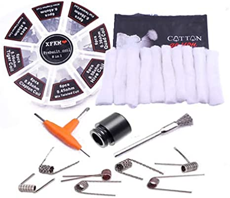 Kit 48 Resistencias bobinas con Algodón, Herramientas y Drip Tip para Vapeo: Amazon.es: Bricolaje y herramientas
