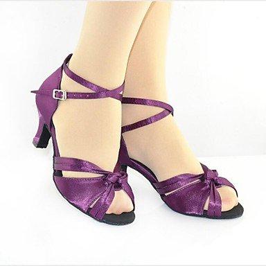 Fucsia Moderno baile Zapatos Salsa de Personalizables Personalizado Tacón Latino Purple qwWgP