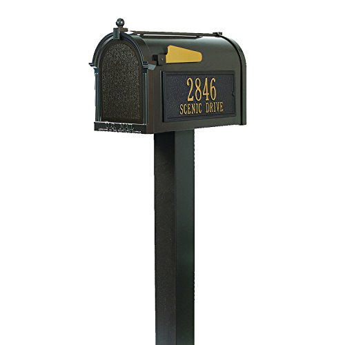 Whitehall Custom Premium Capitol Mailbox and Top Mount Post Package - Sand Cast Aluminum - French Bronze Personalized in Goldtone ()