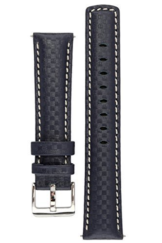 Blue Silver Leather - Signature Carbon blue 22 mm watch band. Replacement watch strap. Genuine leather. Silver Buckle