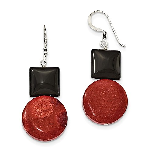 Mia Diamonds 925 Sterling Silver Black Simulated Agate and Reconstituted Red Coral Earrings (38mm x 18mm) ()