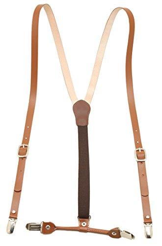 Leather Brown Suspender Elastic Braces product image