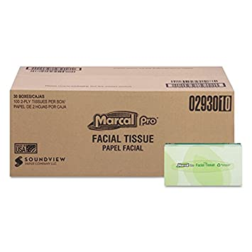 Marcal Pro Facial Tissues, 2-Ply White, 100/Box, 30 Boxes